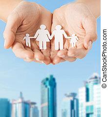 homme, papier, femme, famille, mains