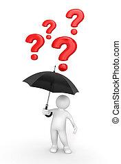 homme, parapluie, questions