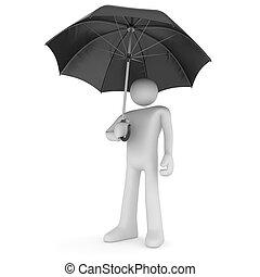 homme, parapluie, sous