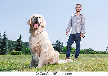homme, parc, chien, sien