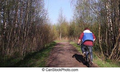 homme, pays, vélo, route, équitation