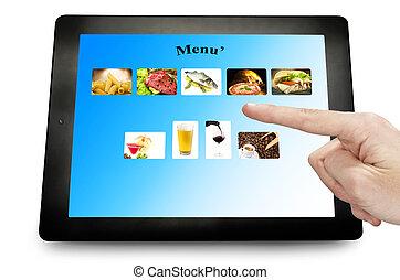 homme, pc, toucher, tablette, main