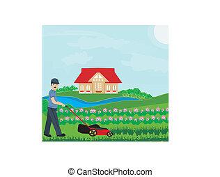 homme, pelouse, vecteur, illustration, fauchage