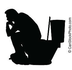 homme, pensée, silhouette, toilette