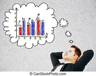 homme, pensée, sur, business, diagramme
