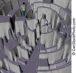homme, perdu, dans, labyrinthe, illustration