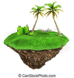 homme, peu, herbe, délassant, terre, arrière-plan vert, frais, blanc, morceau, 3d