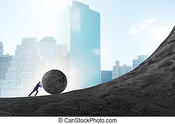 homme, pierre, sommet, grand, pousser