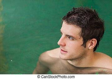 homme, piscine, séduisant, natation