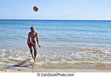 homme, plage, jouer, voleyball