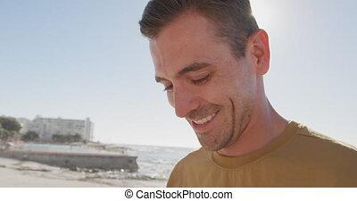 homme, plage, sourire, jeune
