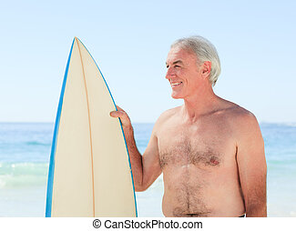 homme, planche surf, sien, retiré