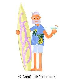 homme, planche surf, vieux