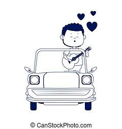homme, plat, classique, conception, chant, icône, voiture