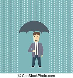 homme, pluie, inquiété