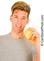 homme, pomme, tenue, jeune