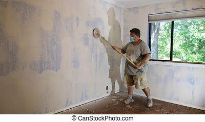 homme, ponçage, drywall, placoplâtre, plâtre