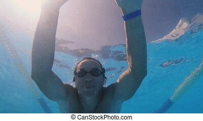 homme, pool., nage, natation