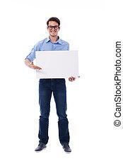homme, portant lunettes, tenue, conseil blanc