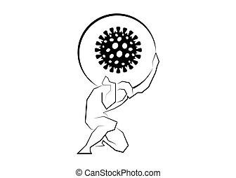 homme, porter, grand, icon., crise, économique, fracas, isolé, covid-19., pandemic., coronavirus., blanc, dû, impact, marché, fond, pierre, vecteur