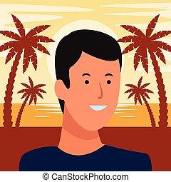 homme, portrait, avatar, dessin animé