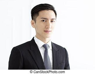 homme, portrait, sourire, business, jeune