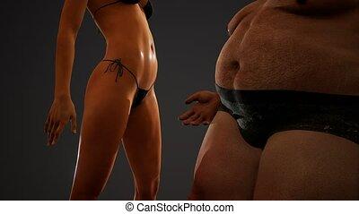 homme, poser, sexy, graisse, femme, studio