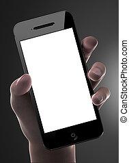 homme, possession main, intelligent, téléphone, à, vide, exposer, isolé