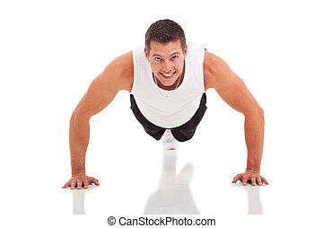 homme, poussée, fitness, augmente