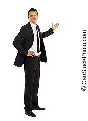 homme, présentation, business, jeune
