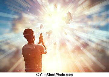 homme, prie, espoir, sunset., religion, beau, symbole, contre, freedom., espoir, seul, foi, concept