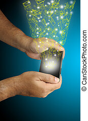 homme, prise, smartphone, business, main
