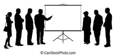 homme, projection, projection, entraîneur, présentation, groupe, écran, gens