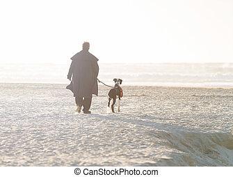 homme, promenade chien