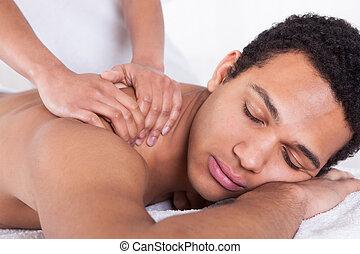 homme, réception, masage, main femelle