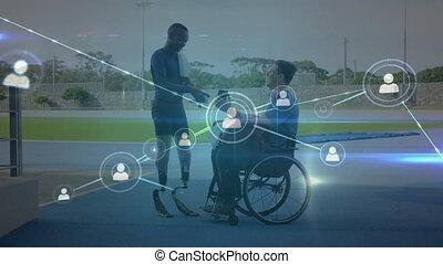 homme, réseau, jambes, discuter, connexions, athlète, prothétique