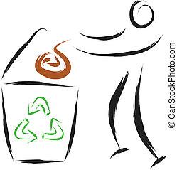 homme, recyclez symbole