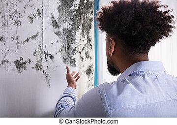 homme, regarder, moule, sur, mur