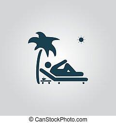 homme relâche, sur, pont, chaise, sous, palmier