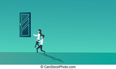 homme, ressource, organisation, montée, haut, concept, coopération, carrière, bannière, travail, personne, ensemble., associé, stratégie, gens, woman., groupe, équipe, bureau affaires, vecteur, door., social, association, job.