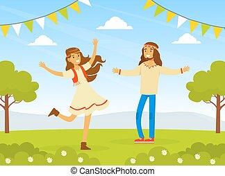 homme, retro, caractères, hippie, jeune, vêtements, nature, illustration, gens, vecteur, 70s, femme, porter, heureux, danse, 60s