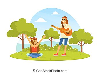 homme, retro, paysage, été, heureux, hippie, jeune, vêtements, illustration, gens, jouer, vecteur, caractères, porter, nature, guitare, 70s, 60s