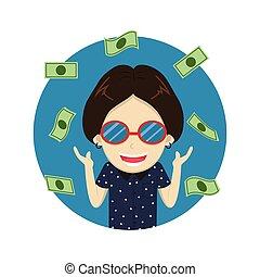 homme, riche, argent, -, illustration, vecteur, lot, heureux, dessin animé, caractère