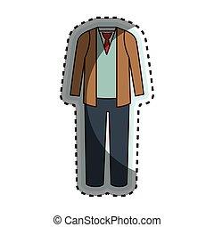 homme, robe, désinvolte, icône