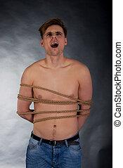 homme, rope., attaché, torturé