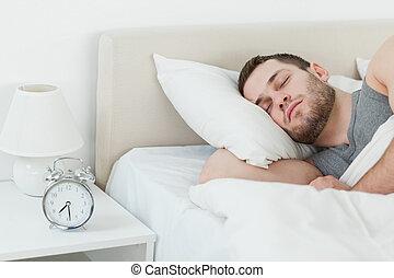 homme, séduisant, dormir