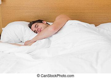 homme, séduisant, lit, endormi