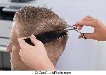 homme, salon, coupe, coiffeur, obtenir