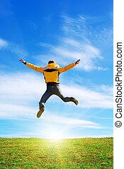 homme, saut, à, soleil