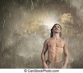 homme, sentiment, perdu, pluie